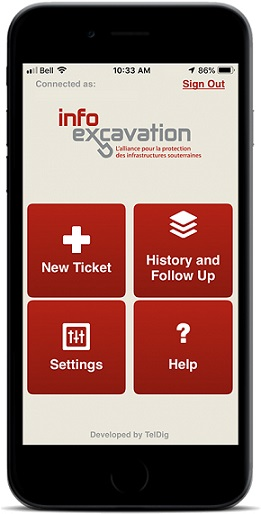 Image of Info Excavation app on a mobile phone