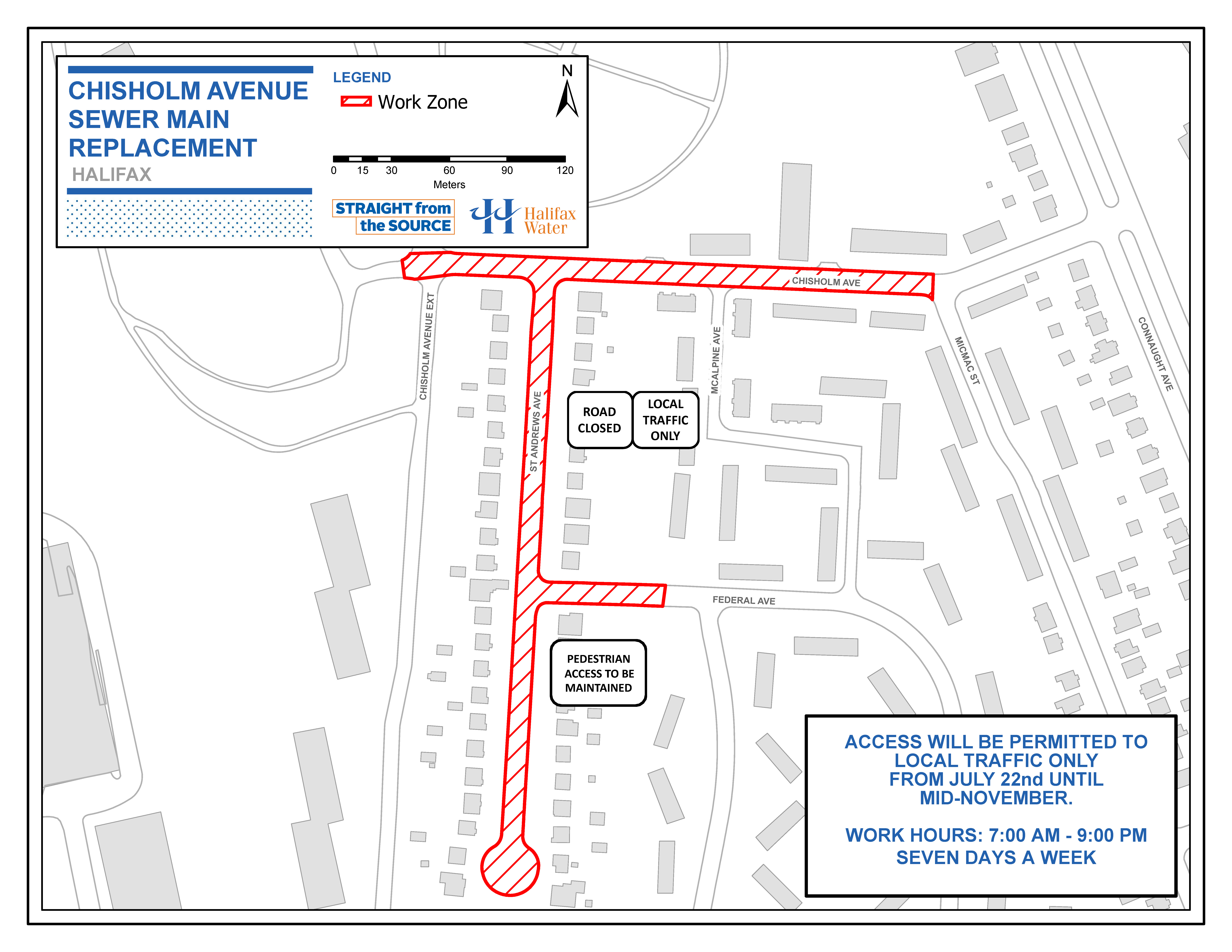 Map of work area for Chisholm Avenue Sewer Main Replacement Project