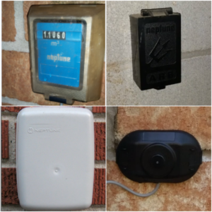 Collage of images showing different water meter transmitters