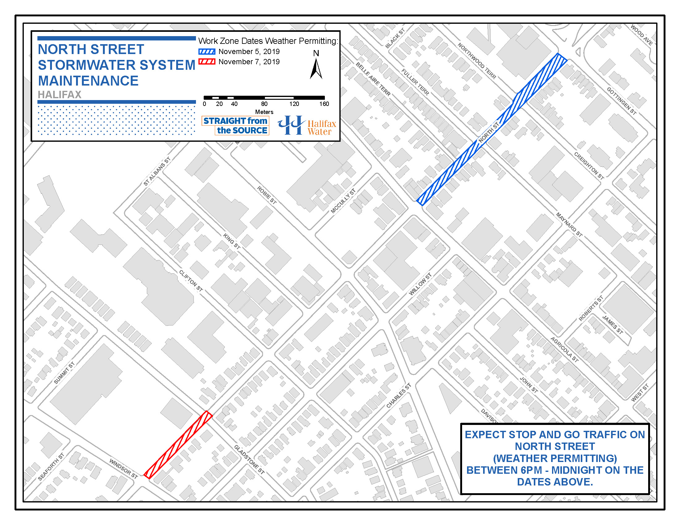 Halifax Water PSA Map - October 31 2019 - North Street - Stormwater System Maintenance