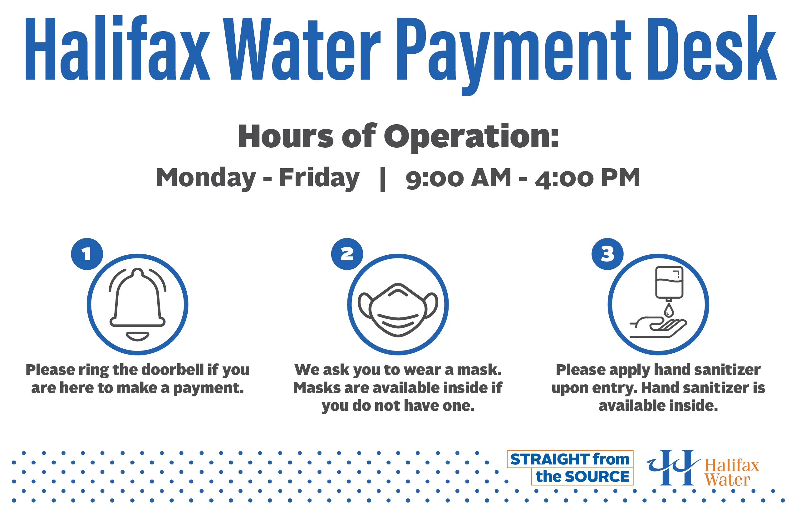 Halifax Water Payment Desk - Front Door Sign - 11x17